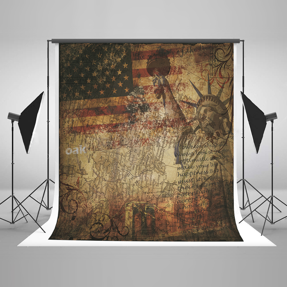 Kate USA Style Background Photography American Map Statue of Liberty American Flag Seamless Cotton Backdrops Studio Fond Photos