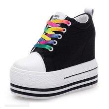 shoes woman casual shoes lace-up increasing heel zapatos de tacon alto black shoes casual zapatillas mujer