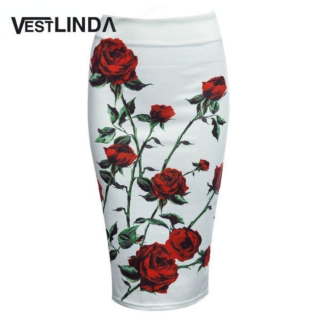 Vestlinda vintage женщины юбка-карандаш высокая талия белый узор bodycon дамы midi юбка цветочным принтом тонкие бедра юбка-карандаш
