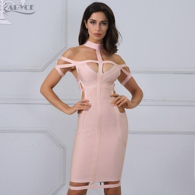 Adyce New Women Bandage Dress Celebrity Evening Party Summer Dress 2018  Royal blue Apricot Hollow Out Bodycon Dresses Vestidos 84a67d7e3353