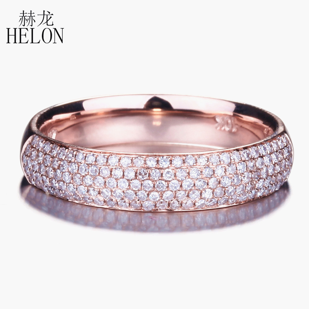 HELON genuino diamante Natural 0.39ct compromiso boda fina anillo elegante sólido 10 K oro rosa media eternidad joyería ajuste-in Anillos from Joyería y accesorios    1