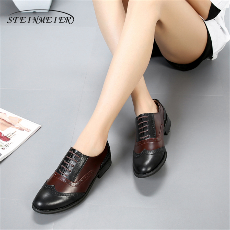 100% Genuine cow leather casual designer vintage lady flats shoes handmade oxford shoes for women 2018 black brown with fur