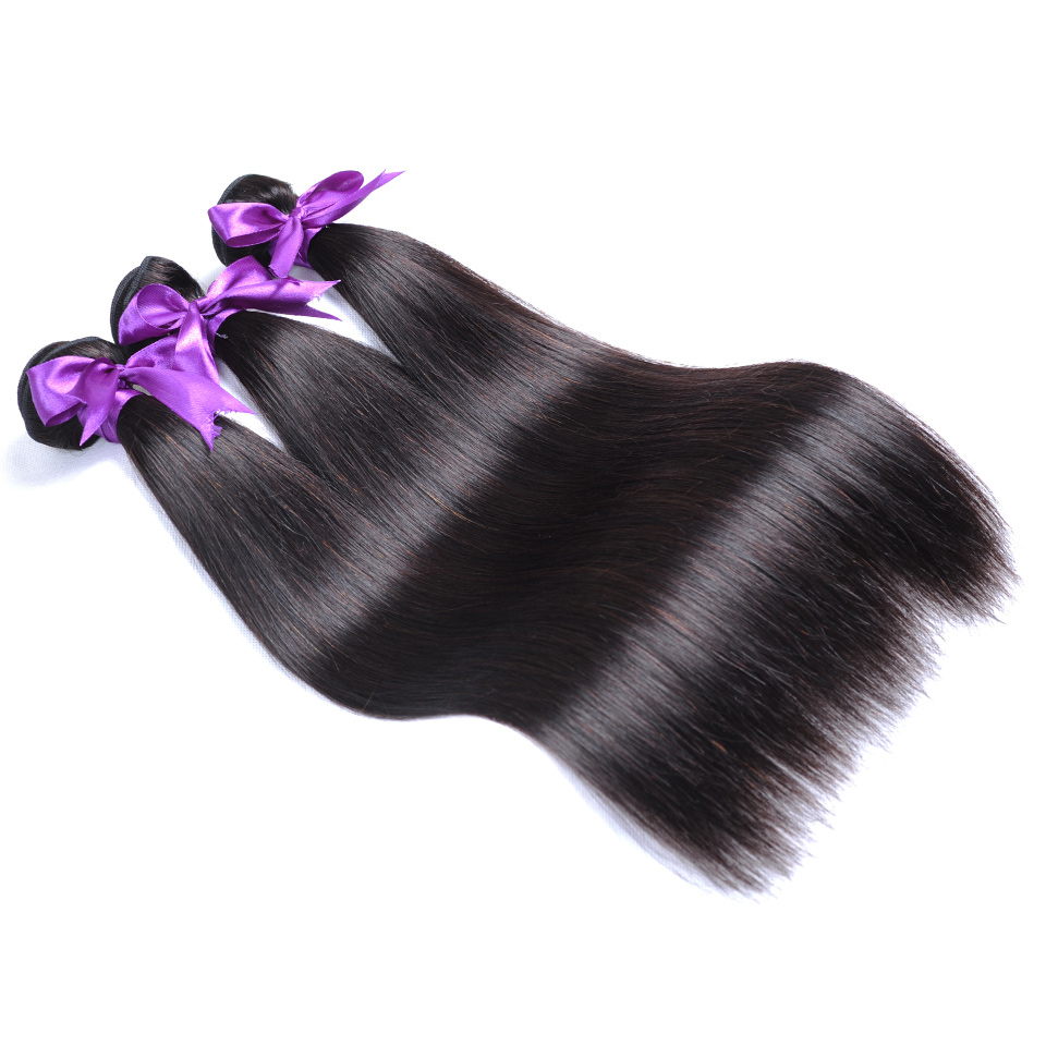 Shining Star 100% Human Hair Bundles With Closure Natural Brazilian Straight Hair 3 Bundles With Closure Non remy Hair Bundles-in 3/4 Bundles with Closure from Hair Extensions & Wigs    3