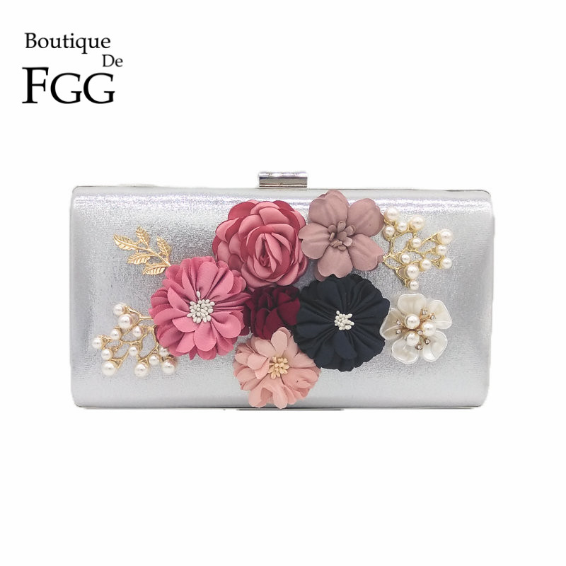 Flower and Beaded Patchwork Women Silver Evening Bag Metal Party Prom Clutches Handbag Purse Bridal Purse Wedding Box Clutch silver metal lady fashion evening bag silver stylish day clutches prom ladies handbag yls g74