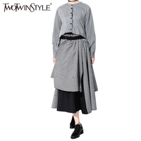 TWOTWINSTYLE 2017 Autumn Plaid Dress Shirt Female Of The Big Size Black Midi Long Dresses For