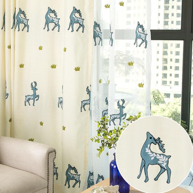 2016 Christmas Elk Semi Light Shading Decorative Curtain