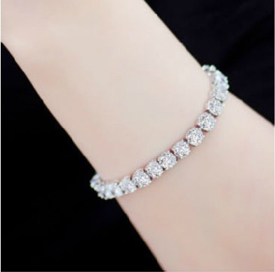 1ct Sona Diamond Bracelet Wedding Whole 18k White Gold Plated High Quality Jewelry Hand Chain For Women In Bracelets Bangles From