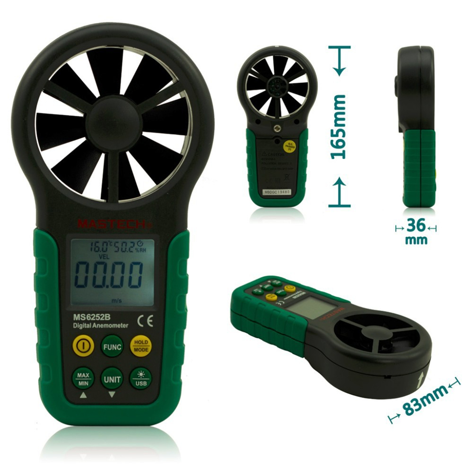 MASTECH MS6252B Digital Anemometer 9999 counts T &Rh Sensor Air Wind Speed Velocity Meter USB Interface digital indoor air quality carbon dioxide meter temperature rh humidity twa stel display 99 points made in taiwan co2 monitor