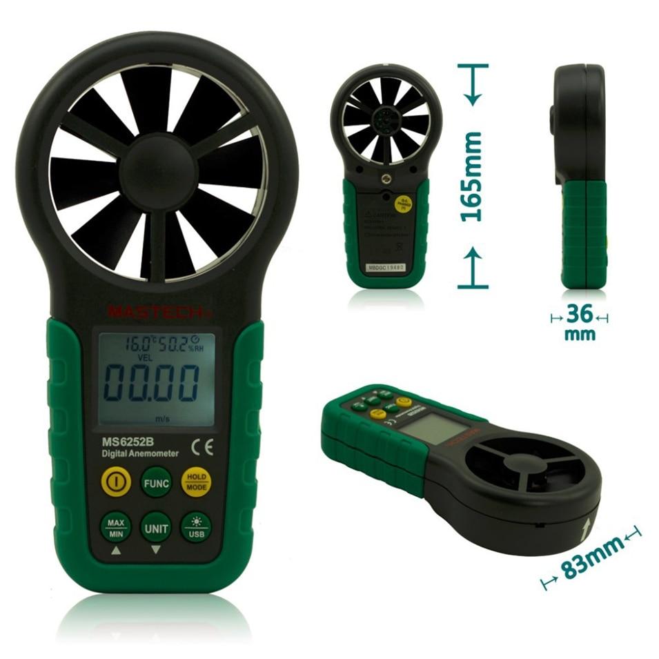 MASTECH MS6252B Digital Anemometer 9999 counts T &Rh Sensor Air Wind Speed Velocity Meter USB Interface цена
