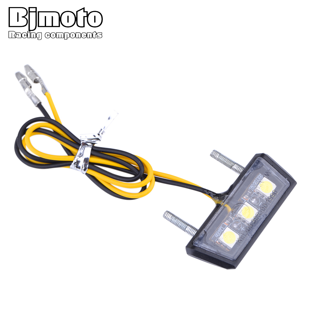 BJMOTO Universal Motorcycle White LED License Plate Light 12V 1W Rear Tail Number Light For BMW Honda Kawasaki Yamaha Suzuki