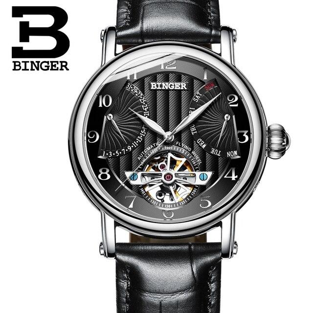 c0f1d9e0f83 Relógios Homens de luxo da marca suíça BINGER safira negócio Relógio  Mecânico Pulseira de Couro Genuíno