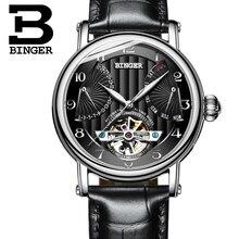Швейцария часы мужчины люксовый бренд Бингер бизнес сапфира водостойкий кожаный ремешок Механические часы B-1172-2