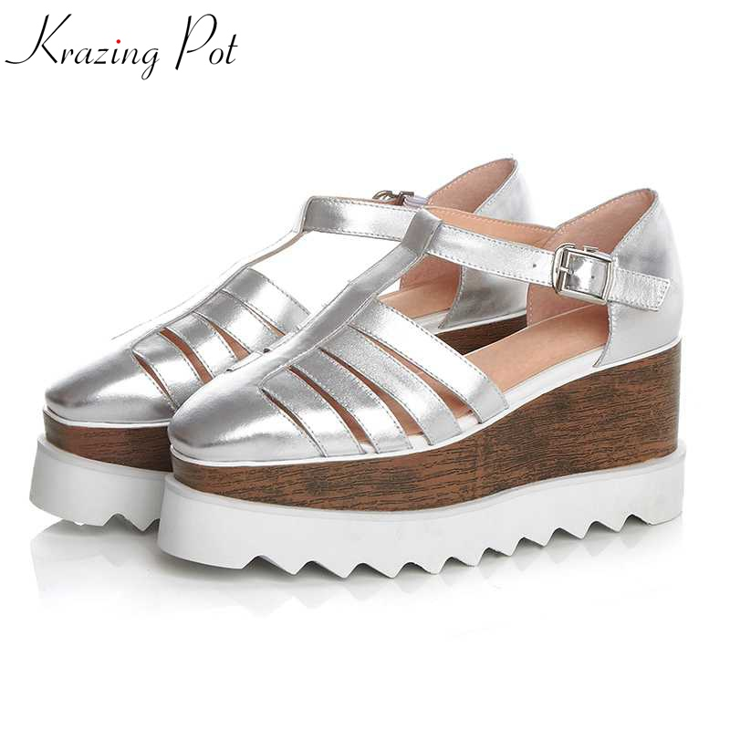 Krazing Pot 2019 genuine leather Korean beauty girl gorgeous women square toe platform pumps breathable wedges