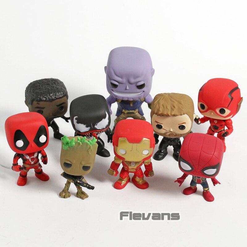 Marvel dc deadpool pantera negra homem aranha thor treen homem thanos veneno homem de ferro flash pvc figuras brinquedos 9 pçs/set