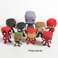Marvel DC Deadpool Schwarz Panther Spiderman Thor Treen Mann Thanos Venom Iron Man-PVC Figuren Spielzeug 9 teile/satz