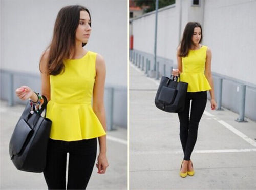 c43f96a627b 2015 Fashion New Women Summer Vest Top Sleeveless Blouse Casual Tank Tops  Yellow Color Business Casual Tanks