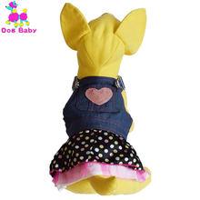 Dogbaby платье для собак однотонная джинсовая юбка питомцев