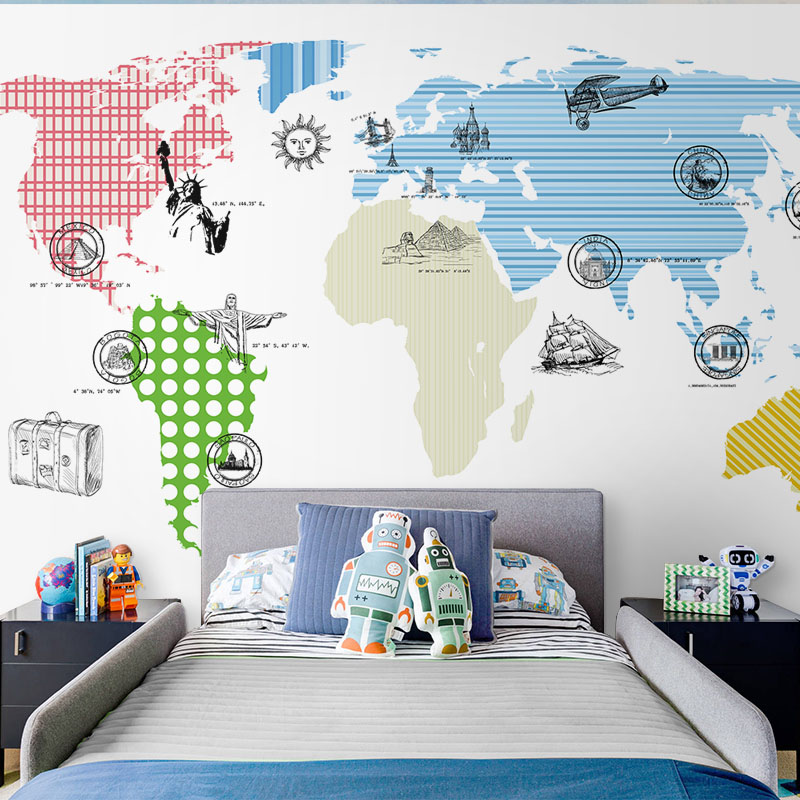 Tuya Art Mural wallpapers world map for kid's room wall decoration children's room wallpaper free shipping pure green mountain art wallpaper mural on the wall for kid s room wallpaper nursery room wall decor free shipping