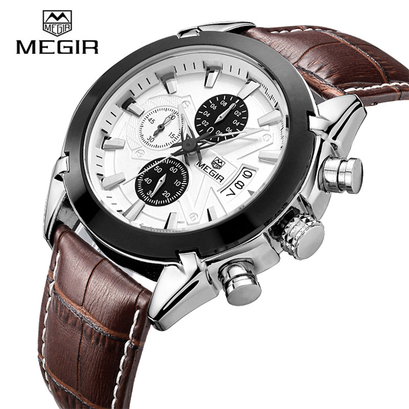 Megir Quartz Watches Men Top Luxury Brand Sports Fashion Leather Wrist Watch Military Chronograph Clock Male Men Army Style New