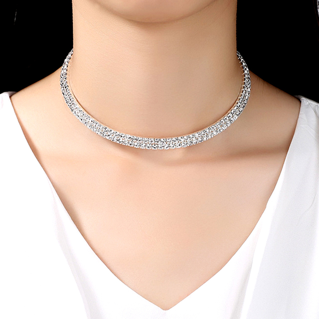 Clearance Sale Women Rhinestone Choker Necklace Silver Color Bridal Crystal  Wide Strand Collar Choker Chain Necklaces 56851981807f