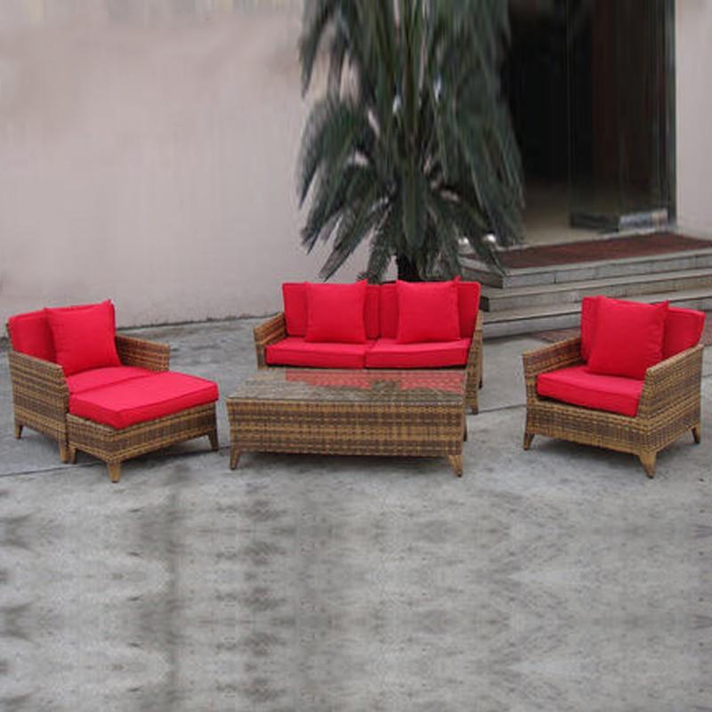 5 kpl ulkosohvasetti Pastoralism Koti Sisä- / ulkotiloissa käytettävä Rattan-sohva olohuoneeseen