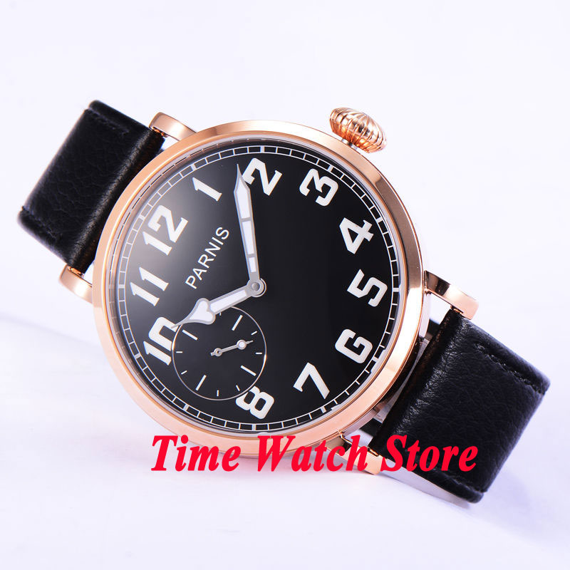 46mm parnis black dial Arabic numbers gold case leather strap deployant clasp 6497 hand winding movement mens watch 546 цена и фото