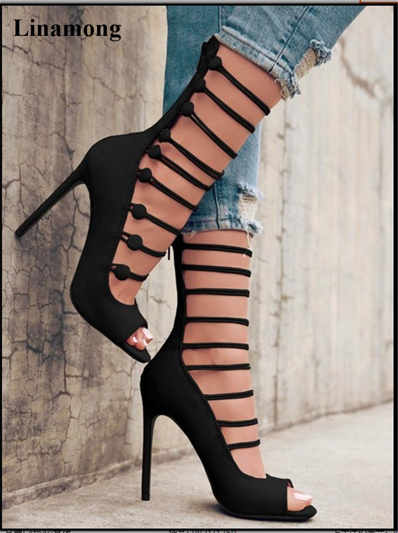 Newst arrival strange style leather thin high heel boots Striped buckle decoration unique chic good match and easy to walk Newst arrival strange style leather thin high heel boots Striped buckle decoration unique chic good match and easy to walk
