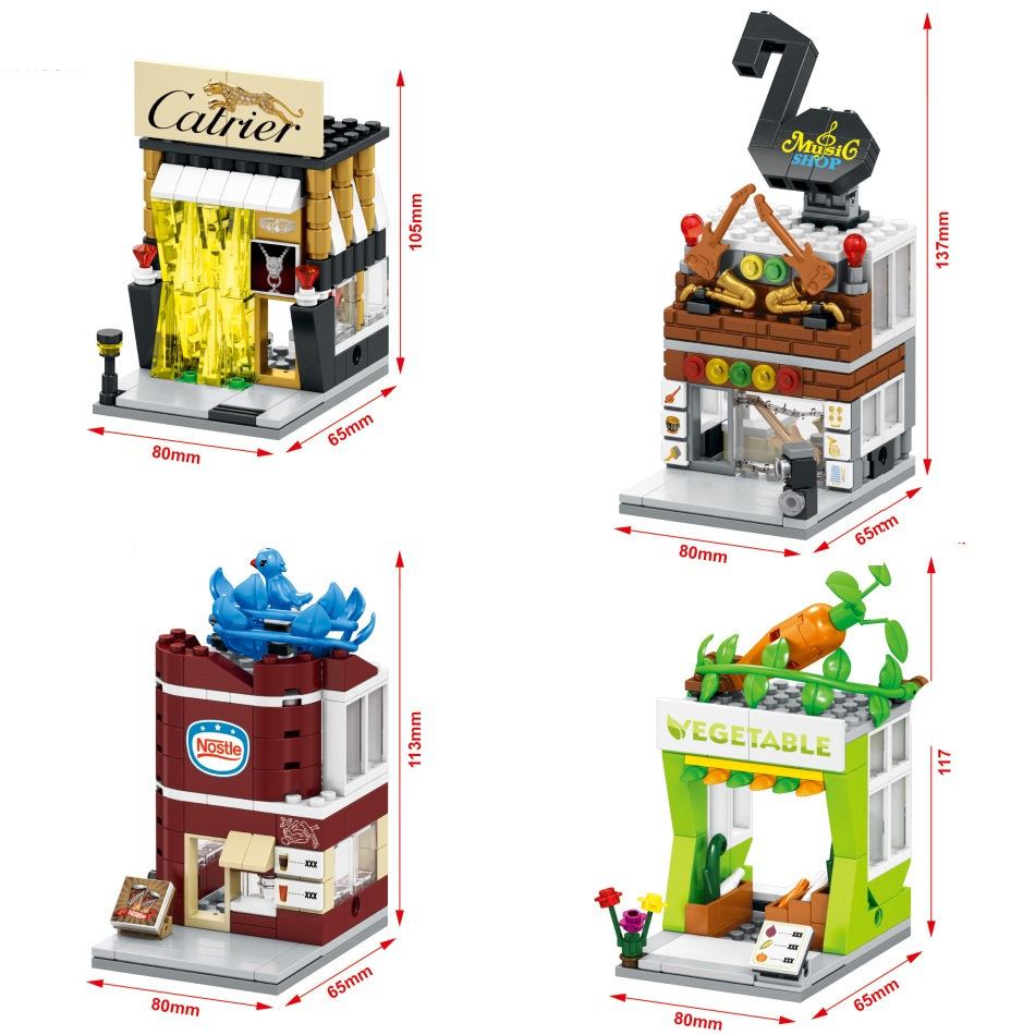 цены SEMBO Blocks Plastic Building Toy Mini Shop Model Small Street Store Chinese Style House Educational Kids toys Children Gifts