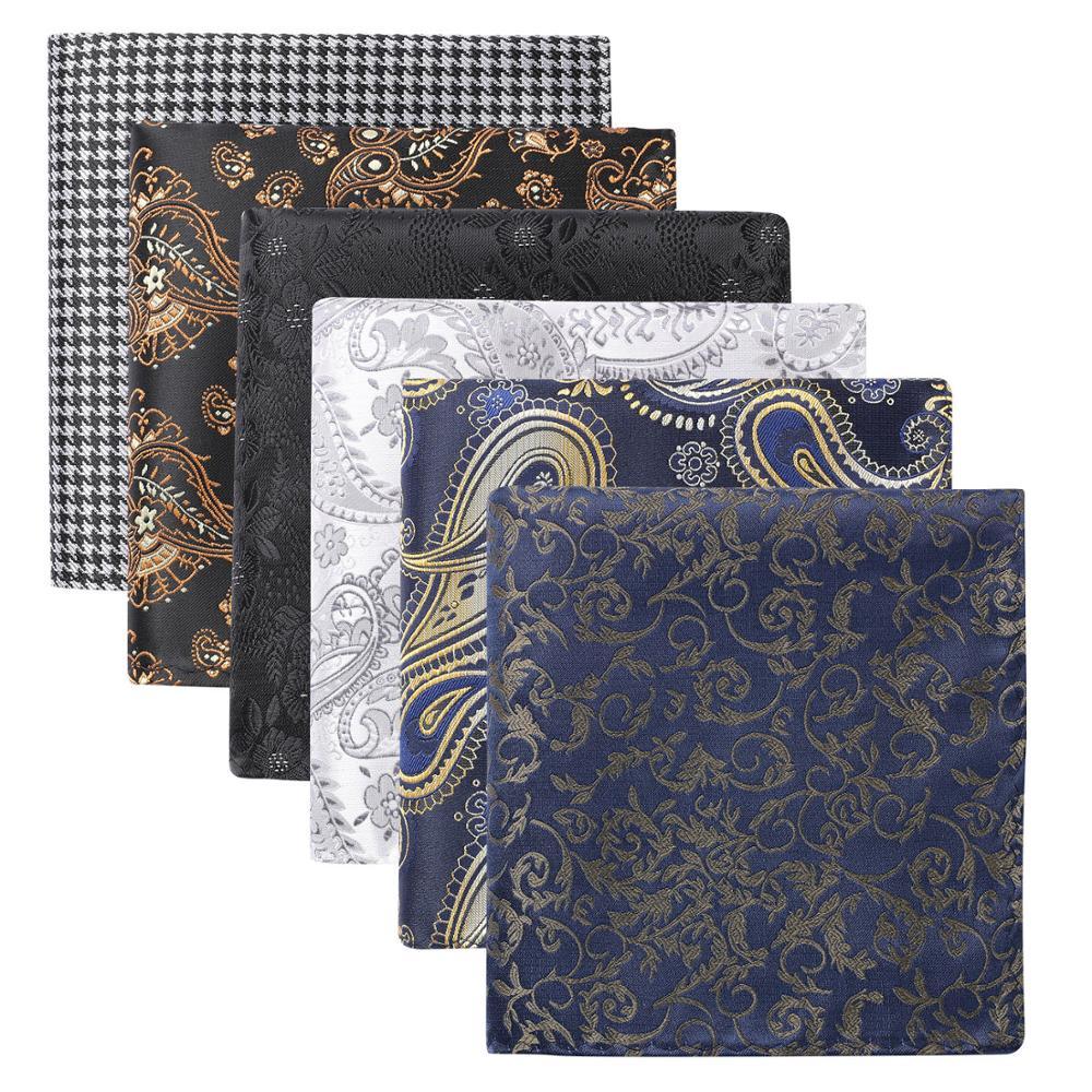 Hisdern 6 Piece Assorted Classic Patterns Men's Paisley Floral Plaid Pocket Square Handkerchiefs Wedding Party Gift