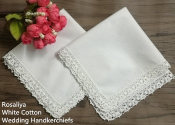 Set Of 12 Fashion Wedding Bridal Ladies Cotton Handkerchiefs With Vintage Crochet Lace Edges 12x12-inch