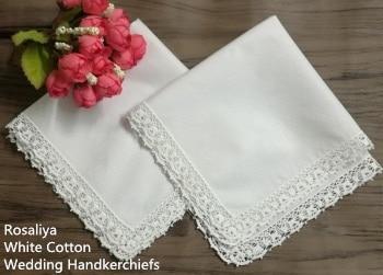 Set Of 12 Fashion Wedding Bridal Ladies Cotton Handkerchiefs With Vintage Crochet Lace Edges 12x12-inch