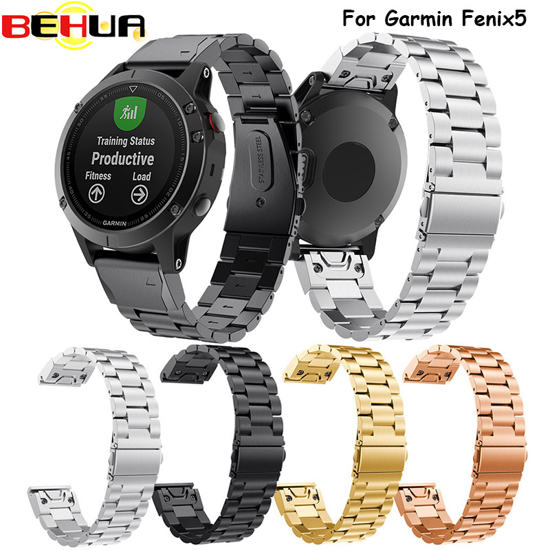 22mm Classic Stainless Steel Metal Strap For Garmin Fenix 5 5 Plus Band Easy Fit Watchband Wrist Band Strap Belt Correa Venda