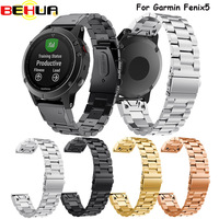 Width 22mm Classic Stainless Steel Metal Strap For Garmin Fenix 5 Band Watchband For Garmin Wrist