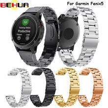 Correa clásica de metal para reloj inteligente, pulsera de ajuste fácil de muñeca, acero inoxidable, 22 mm, para Garmin Fenix 5, 5 Plus