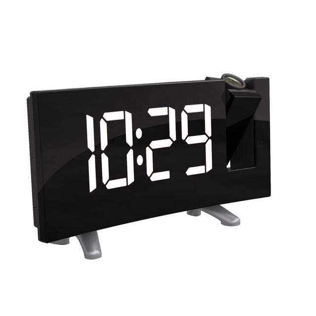 Digital Projector FM Radio Alarm Clock Snooze Timer LED Display Curved-Screen UK