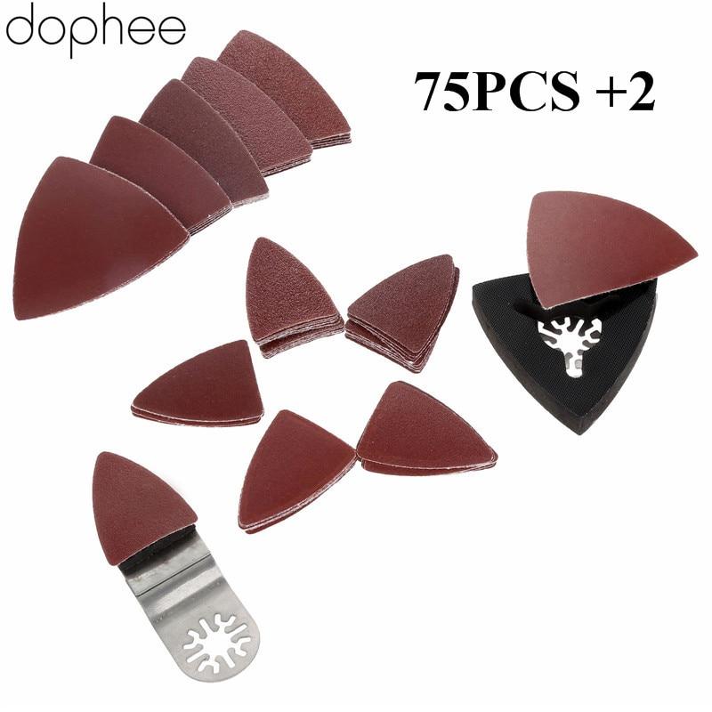 Ferramentas de Poder Lixa + 2 Dophee Lixar Oscilante Multi Tool-para Mestres Fein Dremel Corte Lixa 75 Pcs Mix