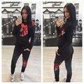 GERTU 2016 Fatos de Treino Mulheres Outono 2 Peça Definir Impressão Mulheres Sporting Sporting Suit Patchwork Camisola E Elástico Legging Capris