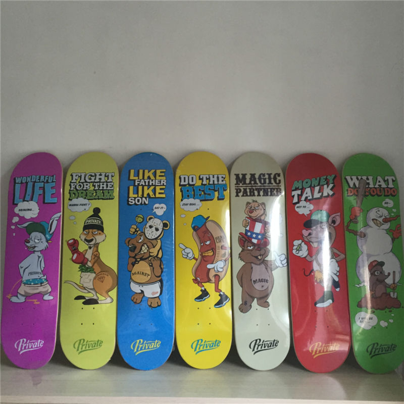 New arrived Classic PRIVATE series of skateboarding deck made by Canadian Maple size 8 Better choice for new sk8ers free shipping 26inch skateboard deck simple pattern made by canadian maple wood shape skateboard deck for pro