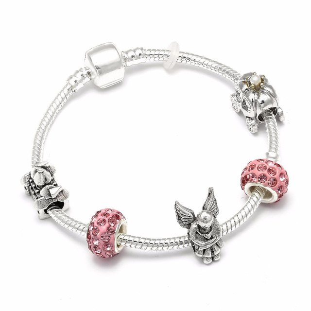 767670b1ae8b Color plata romántico calabaza coche encanto pulseras Ángel Castillo perlas  Pandora pulsera para mujeres DIY Original
