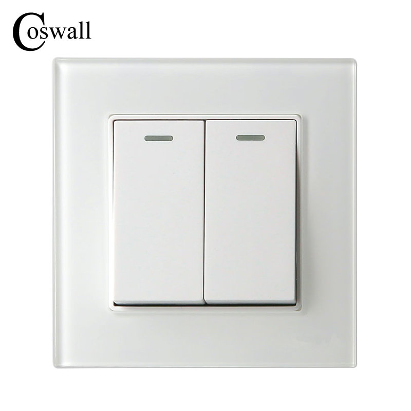COSWALL 2 Gang 2 Way Luxury Crystal Glass Panel Light Switch Push Button Wall Switch Interruptor 16A mvava push button light wall switch 3 gang 1 way 16a 250v luxury white crystal glass panel factory direct sale free shipping