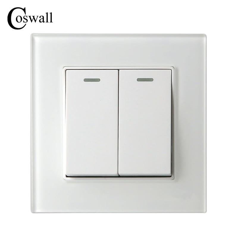 COSWALL 2 Gang 2 Way Luxus Kristall Glasscheibe Lichtschalter Taster Wand Schalter Interruptor 16A
