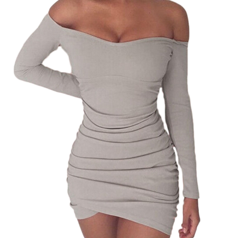HTB1DAGrSXXXXXbQaXXXq6xXFXXXQ - FREE SHIPPING Dress Elegant Off Shoulder Long Sleeve Pleated Slim JKP391