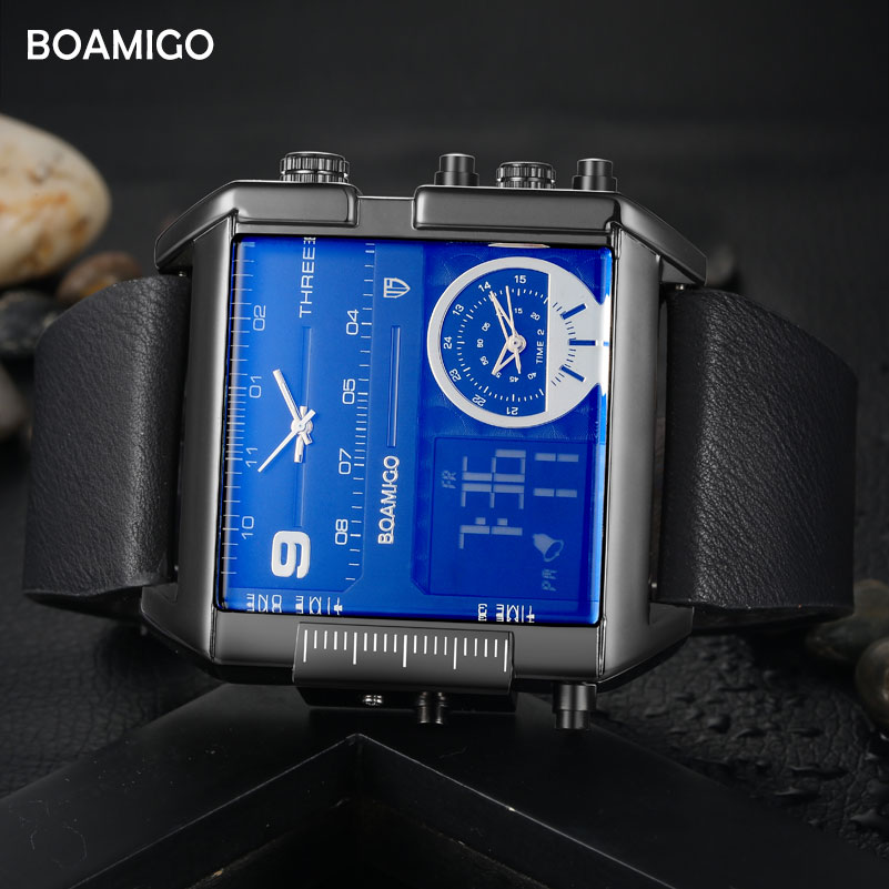 Image 4 - BOAMIGO Sport Fashion Men Military Dual Time Watch Multiple Time Zone Luxury Chronograph Watch Leather Square Quartz Wristwatch-in Quartz Watches from Watches