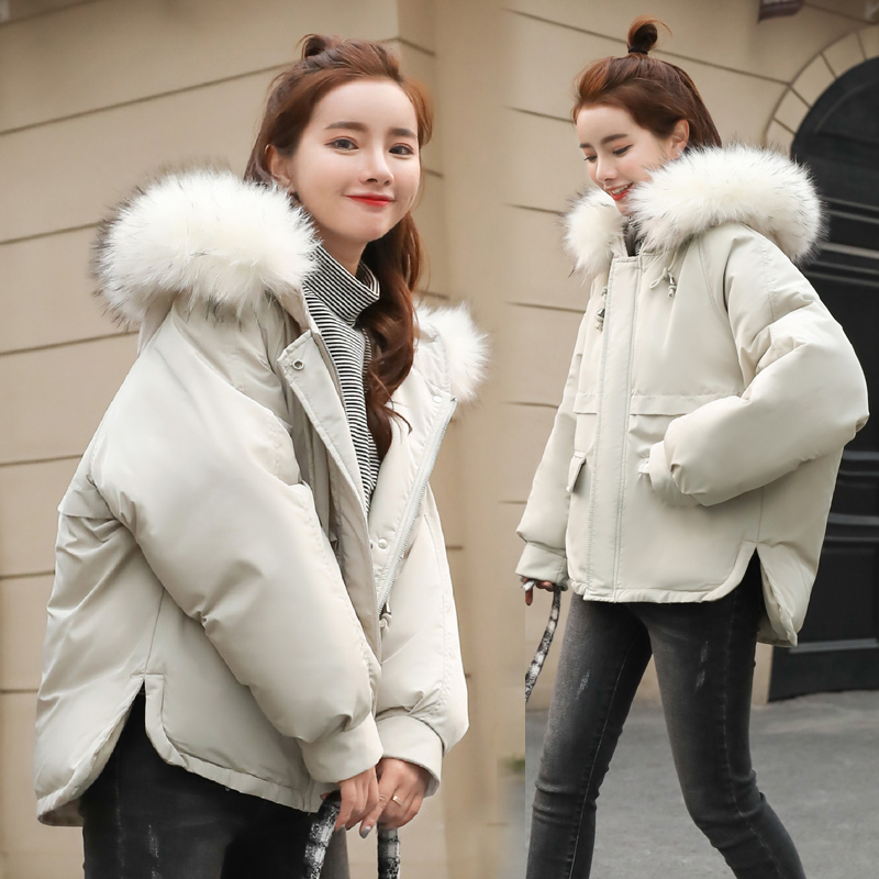 Short Winter Jacket Women Warm Jackets Female Sleeve Thick Outwear Winter Coat Women Ladies   Parkas   White Color