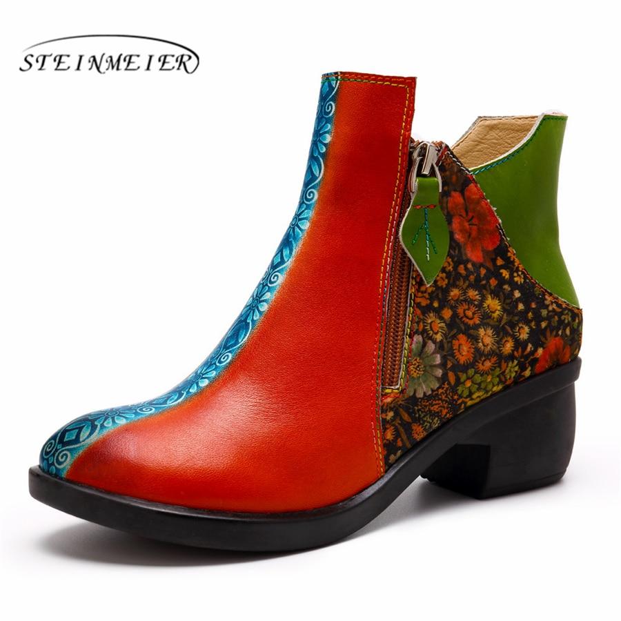 2019 D'hiver Qualité Chaussures Cuir Confortable En Green De Hauts Designer Rouge Véritable Red À Doux Main Talons Femmes Vert Cheville Vache Bottes Marque Rq56x7