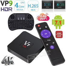 V7 TV Box Android 7.1 RK3328 Quad-Core 1 GB 8 GB HDR10 4 K VP9 H.265 2.4G WiFi USB 3.0 Smart Media Player android tv boîte