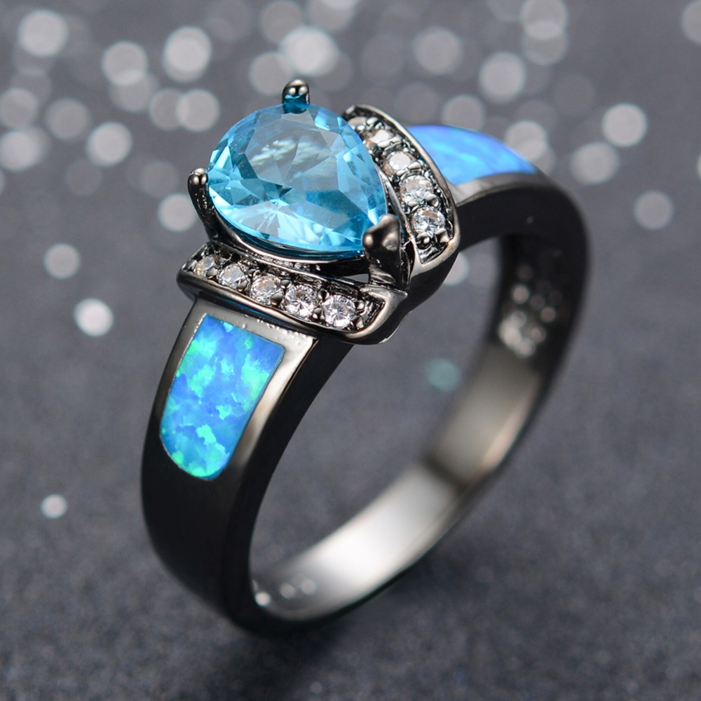 Blue Fire Opal Water Drops Engagement Ring Set,genuine Woman 10kt Black  Gold Filled Ring Eternity Wedding Bands Christmas Giftin Rings From  Jewelry