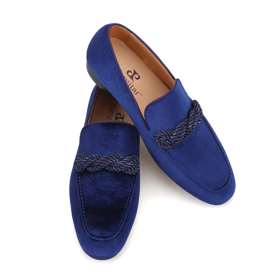 Piergitar 2019 handmade men velvet loafers with navy rape Italian design men smoking slippers banquet and prom men's casual shoe