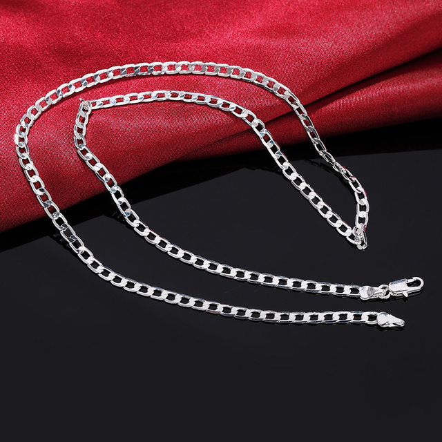 16-30INCHES Free shipping Beautiful fashion Elegant silver plated CUTE 4MM chain pretty MEN Girl Necklace Can for pendant