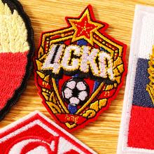 DIY Hook Loop Patch Embroidered Patches For Clothing Iron on Patches On Clothes PFC CSKA Moscow Football Club Badges Stripes(China)
